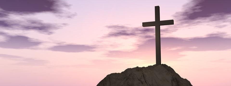 Conceptual cross religion symbol shape over sunset sky banner