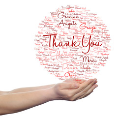 Conceptual abstract thank you word cloud in hand different language