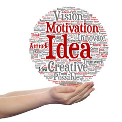 Conceptual creative business word cloud in hand isolated