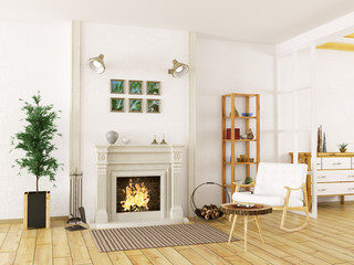 Interior of living room with fireplace 3d render