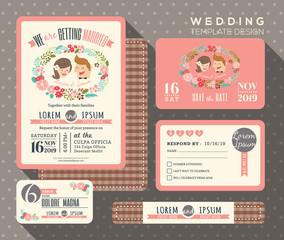 groom and bride cartoon retro wedding invitation set design Template