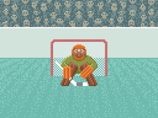 Ice Hockey Goalkeeper - Pixel Art Illustration