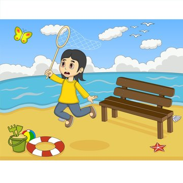 Little girl catch a butterfly on the beach cartoon