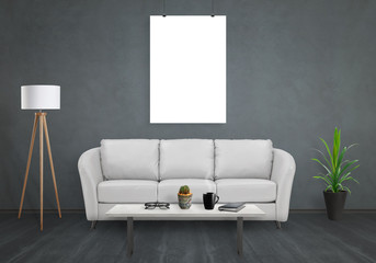 Poster isolated on black wall. Sofa, lamp, plant, glasses, book, coffee on table in room interior.