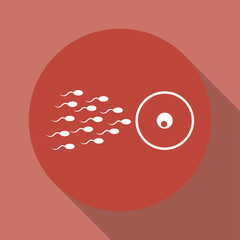 Sperm and egg cells thin line icon