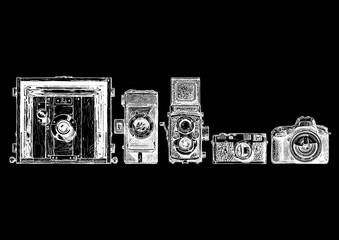 Wall Mural - photo cameras evolution set.