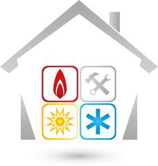 Haus, Sonne, Schnee, Flame, Installateur Logo