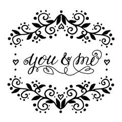 handdrawn typography design element.