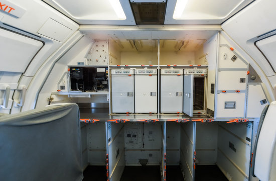 Ukraine, Borispol. The interior of the plane, compartment service.