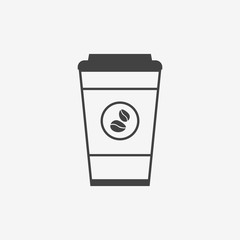 Disposable coffee cup monochrome icon. Coffee takeaway.