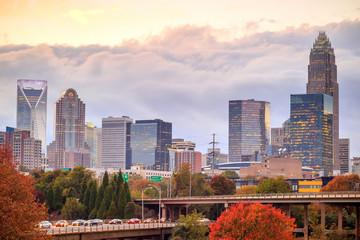 Fototapete - Skyline of downtown Charlotte in north carolina