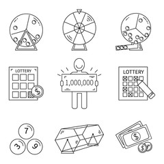 Lottery line icons set