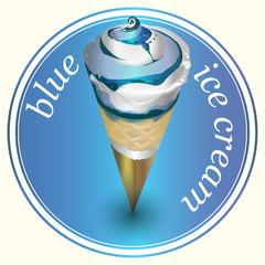 Vector design stickers blue ice cream.