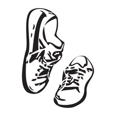 Sneakers shoes vector sketch drawing illustration vector