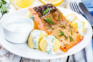 Baked salmon fillet and boiled potatoes