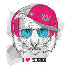 The image of the tiger in the glasses, headphones and in hip-hop hat. Vector illustration.