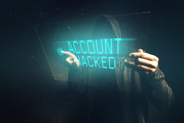 E-bank account hacked, unrecognizable computer hacker stealing p