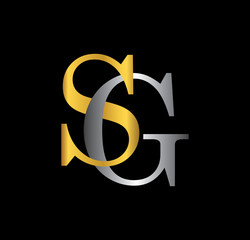 SG initial letter with gold and silver