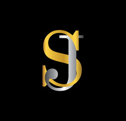 SJ initial letter with gold and silver