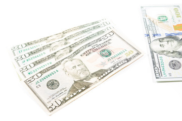 Dollar money bills isolated on white