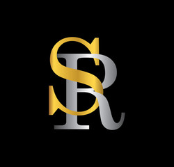 SR initial letter with gold and silver