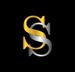 SS initial letter with gold and silver