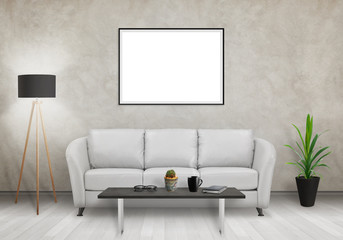 Isolated horizontal art frame on gray wall. Sofa, lamp, plant, glasses, book, coffee on table in room interior.