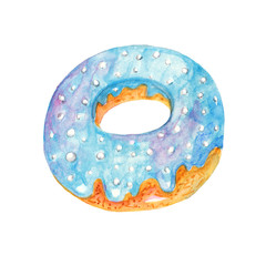 Blue iced donut on white background. Watercolor illustration