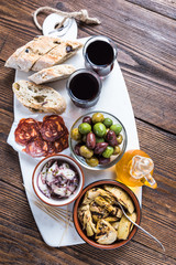 Authentic tapas served on marble board