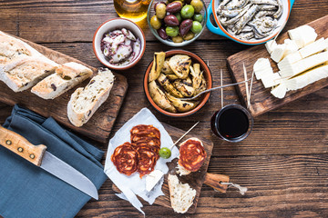 Traditional tapas served for share with friends