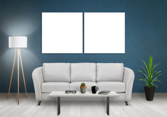 Wall art canvas. Two blank isolated on black wall. Sofa, lamp, plant, glasses, book, coffee on table in room interior.