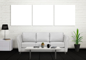 Mock up of three wall art canvas. Sofa, lamp, plant, glasses, book, coffee on table in room interior.