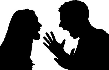 Silhouette of Conflict between couple