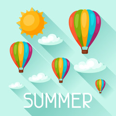 Summer background with hot air balloons. Image for advertising booklets, banners, flayers, article, social media