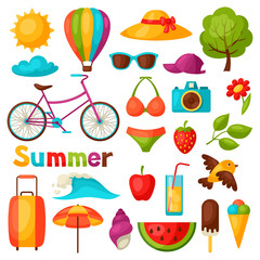 Set of stylized summer objects. Design for cards, covers, brochures and advertising booklets