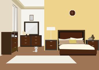 illustration of bedroom interior with carved wood bed, dresser and nightstands