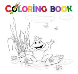 Ausmalbild Frosch mit Krone am See Vektor Illustration isoliert auf weiß