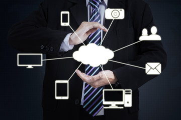 Businessman with Cloud Computing diagram
