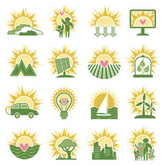 Alternative energy sources. Solar energy. Eco icons, vector set.