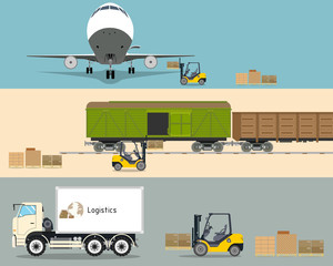 Loading boxes with a forklift into the cargo plane, truck and train. Transportation and Logistics. Vector illustration