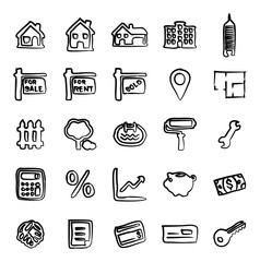 Real Estate Market Icons Freehand