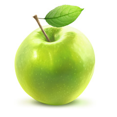 Green Apple and leafe isolated with clipping path