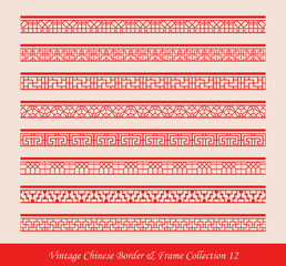 Vintage Chinese Border Frame Vector Collection 12