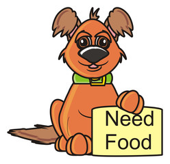 plate, rally, demanded, poster, banner, keep, isolated, toy, cartoon, animal, pet, dog, puppy, please, bum, beggar, letters, inscription, food