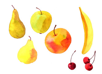 watercolor drawing fruits