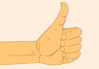 Left hand show thumbs up.vector and illustration design