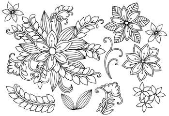 Set of doodle floral design elements in black and white