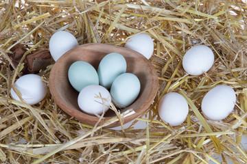 Eggs on straw background