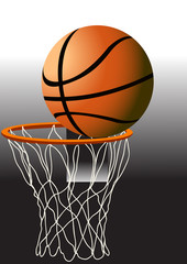 Basketball. The ball in the basket
