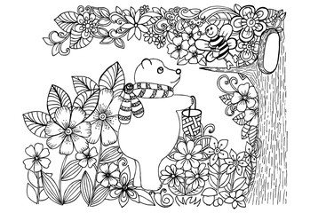 Doodle drawing of bear and bee in a magic forest
